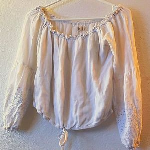 Hollister Blouse w/Embroidered Lace Sleeves Size S